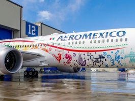 Aeromexico News The Feathered Serpent, Quetzalcoatl, adorns our new 787-9 Dreamliner